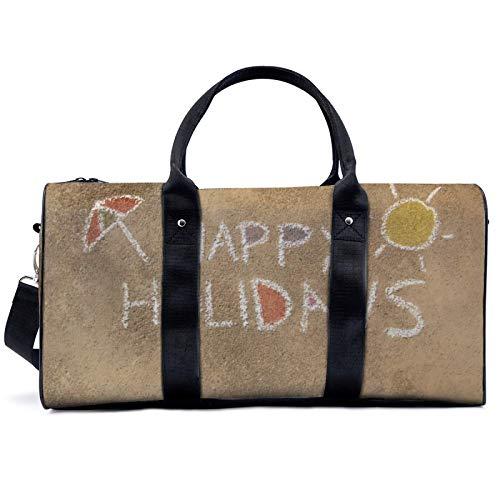 Happy Holiday Illustration - Bolsa de viaje para yoga, camping, gimnasio, hombro, bolsa de lona ligera, para hombres y mujeres