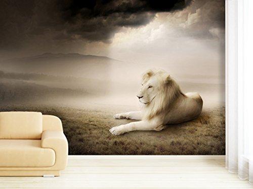 Papier peint photo White Lion dans différentes tailles – Comme Papier peint ou papier peint intissé au choix – PVC sans odeur, impression latex écologique sans solvant – Papier Peint Motif peint poster image Wall Mural par Trend murs, Papier peint, multicolore, 350x225cm