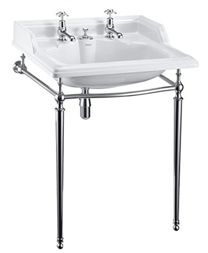 Casa Padrino Art Deco Stand Waschtisch Weiß/Chrom mit 2 Hahnlöchern - Jugendstil Waschbecken Barock Antik Stil