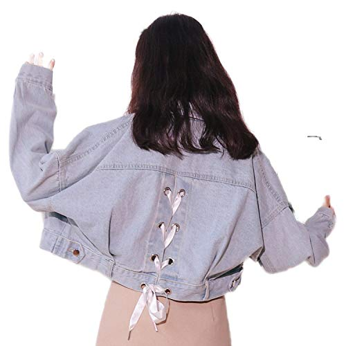 Denim Jackets Korean Preppy Style Back Jeans Jacket Ladies Jean Coat-Blue-S