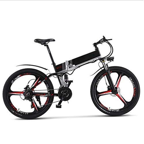 Bicicleta Eléctrica Montaña Plegable, 26 Pulgadas Bicicleta Eléctrica Conmutar para Adultos Que Viaja Estilo Opcional de Doble Batería Duración de la Batería de hasta 180 km,Negro,B