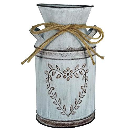 Vaso da fiori vintage vaso da latte shabby stile francese vaso da casa di campagna con cuore unico e design a corda vaso da fiori in metallo per la decorazione del giardino accessorio per la casa