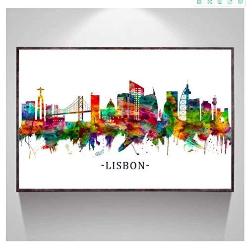 Crazystore Impresión en lienzo de 50 x 70 cm sin marco de Lisboa lienzo de acuarela póster de arte lienzo pintura decoración de habitación