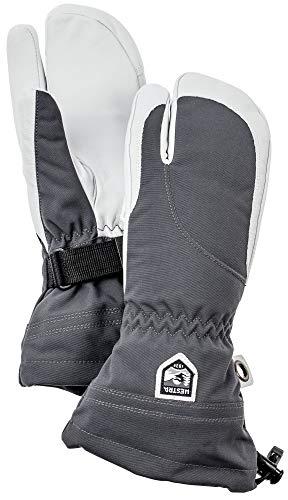 Hestra Damen Ski-Handschuhe, extra warm, Heli-Leder, Winter, kalte Wetter, 3-Finger, Fäustlinge, Damen, Grau/Offwhite, 6