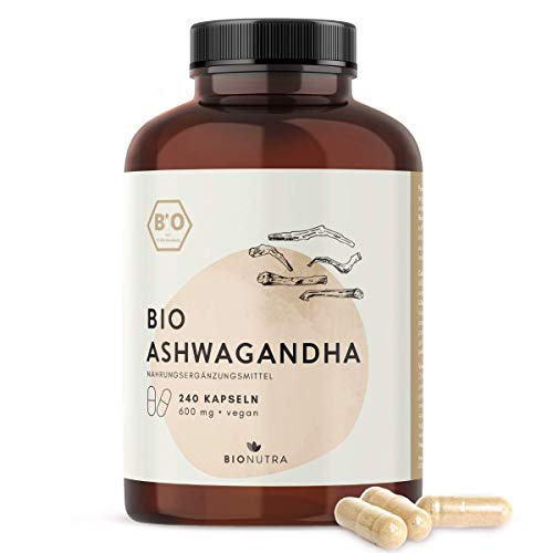 BioNutra® Ashwagandha-Kapseln Bio (240 Kapseln mit je 600 mg), hochdosiert, Großpackung, deutsche Herstellung, vegan, 100% biologische Rohstoffe ohne Zusätze, Einführungsangebot