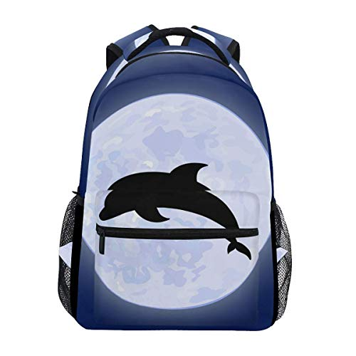 poiuytrew Dolphin with Moon Backpack Students Shoulder Bags Travel Bag College School Backpacks
