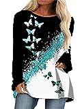 Camiseta con Estampado de Mariposa de Cuello Redondo para Mujer, Camiseta de Manga Larga Informal con Mariposas Sueltas, Sudaderas con Capucha