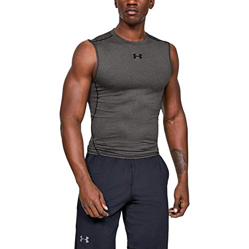 Under Armour UA HeatGear ARMOUR Sleeveless, Camiseta Sin Mangas Hombre, Gris (Carbon Heather/Black 090), M