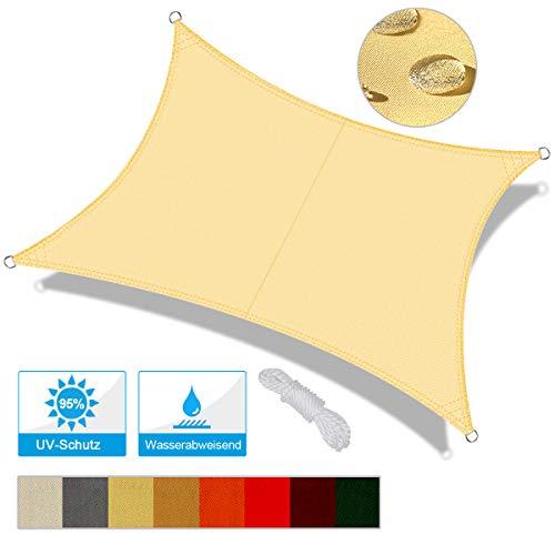 OKAWADACH Toldo Vela de Sombra Rectangular 2 x 4m, protección Rayos UV Impermeable para Patio, Exteriores, Jardín, Color Beige