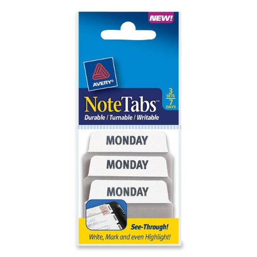 Avery NoteTabs, 2 x 1.5 Inches, Days of The Week, 3 Sets of 7 Days (16302)