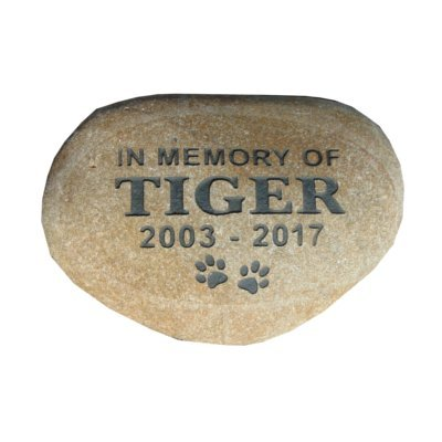 Pet Memorial Stone Headstone Grave Marker 7' River Rock Memory Stone Natural River Rock Custom Engraved with Your Pets Name and Dates.