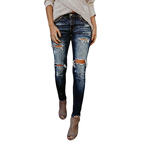 TOPUNDER Hight Waisted Ripped Jeans for Women Skinny Hole Denim Stretch Slim Pants