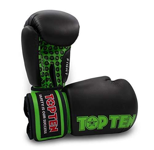 TOP Ten Boxhandschuhe Fight - 10 12 16 Oz - schwarz rot blau grün orange Kickboxen UVM. schwarz/grün 10 Oz