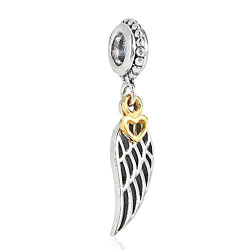 Colgante con forma de ala de ángel, hecho de plata de ley 925, con corazón de oro, forma de pluma,...