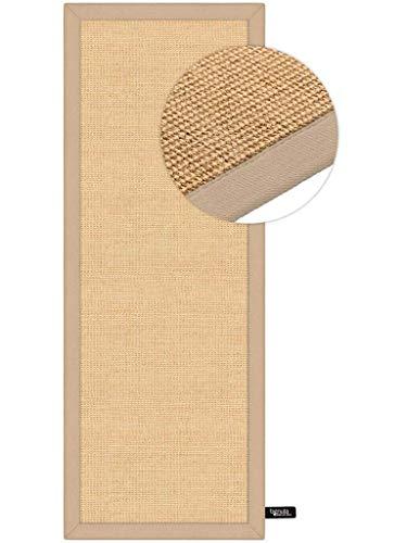 Benuta Sisal Teppich mit Bordüre, Jute, Beige, 68 x 300.0 x 2 cm