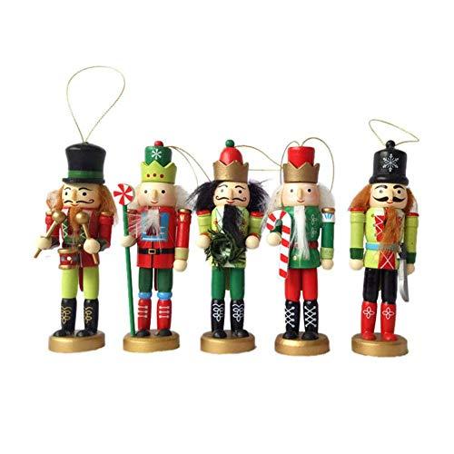 5-teilig 12CM Weihnachtsschmuck Nussknacker Deko Holzsoldat Puppet Zinn Spielzeug,Dekorative Anhänger Holz Nussknacker Soldat Figuren Ornamente Puppen Figuren Puppen Spielzeug, Weihnachtsgeschen