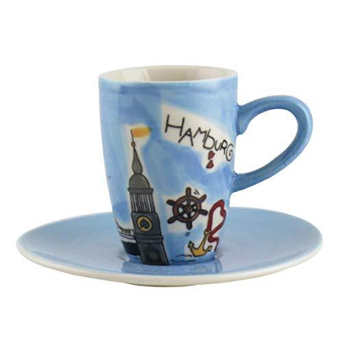 440s Mila Keramik Espresso-Tasse mit Untere Motiv Hamburg | MI-88007 | 4045303880078