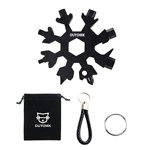 Herramienta multifunción 18 en 1 con diseño de copo de nieve, de acero inoxidable, herramienta multifunción, llave de bicicleta, llavero, colgante para exteriores, accesorios (negro)