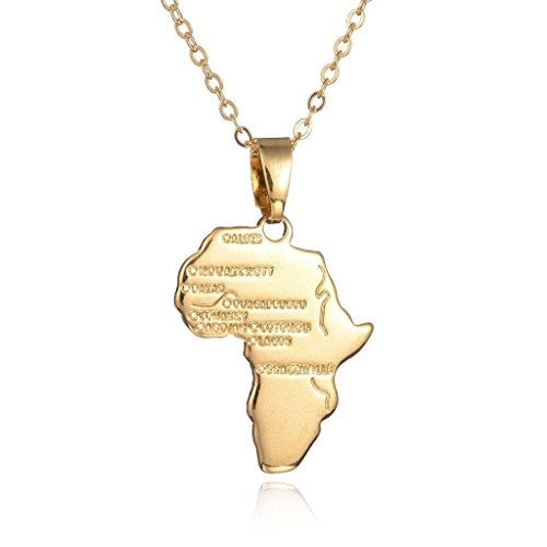 Round Designs Gold Africa Necklace Pendant & 22 Inch Chain