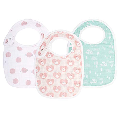 """Baby Snap Muslin Bibs for Girls, Baby Girl Bibs for Infants,Newborns and Toddlers,100% Cotton Muslin Soft Absorbent Layers, Large Baby Bibs for Girls,Adjustable,Machine Washable,""""Girlish Romance"""""""