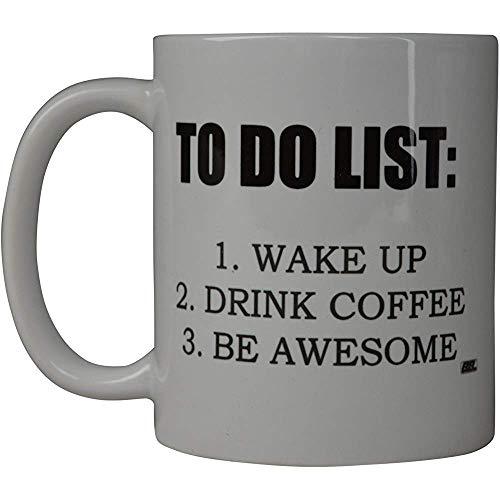 Rogue River Funny Coffee Mug To Do List Wake Up Drink Coffee Be Awesome Novelty Cup Idea de regalo para empleados de fiestas de oficina (Lista de tareas)