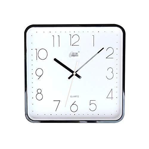 Reloj de pared simple de 30,5 cm, silencioso, cuadrado, para sala de estar, escuela, oficina, fácil de leer, funciona con pilas, color negro