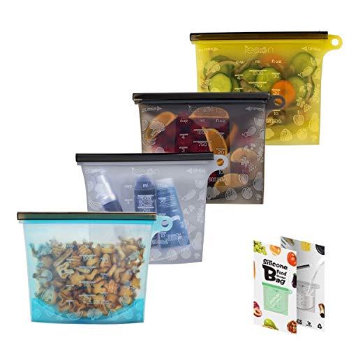 Wiederverwendbare Silikonsäcke zur Aufbewahrung von Lebensmitteln Lunch Sandwiches Beutel für Gemüse, Obst, Fleisch, Milch, Snacks - Silikonsäcke Ideal für Gefrierdampf, Sous Vide und Mikrowelle