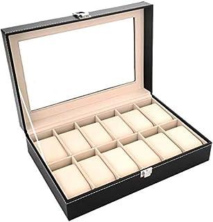 Twelve Compartment watch Storage box organizer Pu Leather,Black