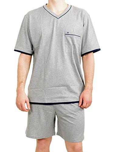 Seidensticker Herren kurz Jersey Zweiteiliger Schlafanzug, Grau (Grau-Mel. 202_00), 48