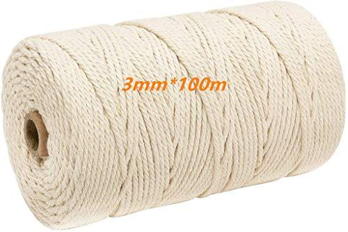 Macrame cuerda,Cuerda de Algodón Natural,Hilo Macramé,para DIY Artesanía, Colgar Fotos, Manualidades, Costura(100m x 3mm)
