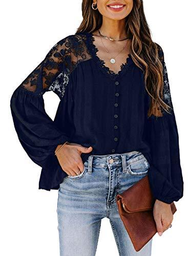 Damen-Bluse mit Spitze, gerüscht, V-Ausschnitt, einfarbig, lange Ärmel, Blumenstickerei, Bluse, Top Gr. 38, blau