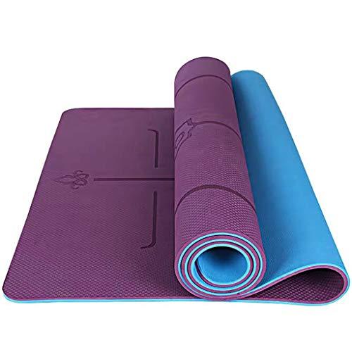YXJBD Matte für Yoga Anti-Rutsch-Yoga-Matte Eco Friendly TPE Gymnastikmatte mit for Boden Workout Fitness und Hot Yoga yogamatte naturkautschuk (Color : Deep Purple 1, Size : 185x80x1cm)