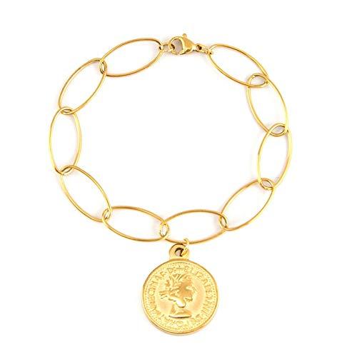 HMANE Pulsera con Colgante de Medalla de Moneda de Acero Inoxidable de Color Dorado para Mujer, Cadena Ovalada Larga Ovalada, joyería de Estilo Vintage, 20 CM