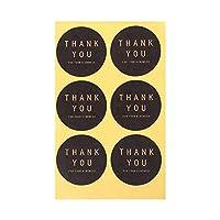 60ピースクラフト紙ステッカーあなたの優しさステッカーありがとうケーキベーキング包装シーリングラベルdiyギフトステッカー(Round,Black)