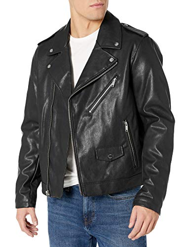 DKNY Herren Classic Asymmetrical Faux Leather Motorcycle Jacket Kunstleder, Jacke, schwarz, Small