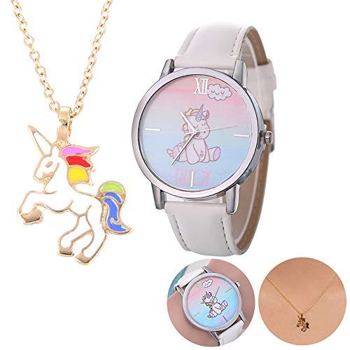 Set di collana con ciondolo a forma di unicorno e orologio da polso con cinturino in pelle e stampa unicorno, regalo di Natale per bambini