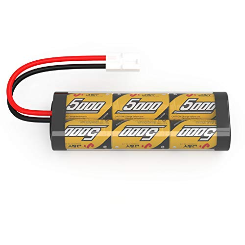 FLYLINKTECH 7.2v 5000mAh NiMH Rechargeable Battery Packs for RC Cars,Electric Rc Monster Trucks,Traxxas, LOSI, Associated, HPI, Tamiya, Kyosho with Tamiya Connectors