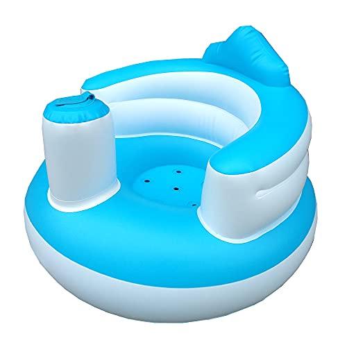 Fesjoy Silla de Seguridad para bebé, Inflable Silla de bebé portátil niños sofá Asiento de Entrenamiento Silla de Paseo para la Ducha de alimentación Play Beach PVC Azul