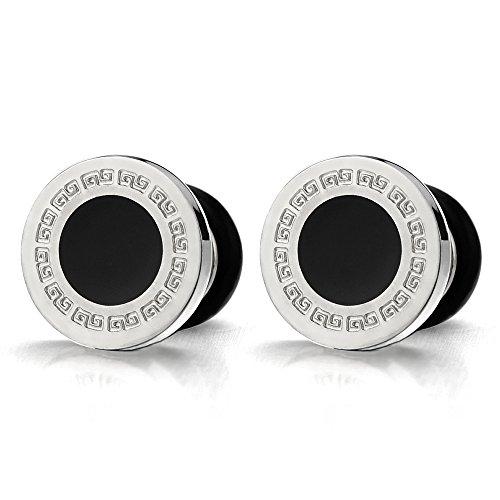 6MM Modelo Dominante Griego 10MM Círculo Pendientes para Hombres, Acero Inoxidable con Esmalte Negro, 2 Piezas