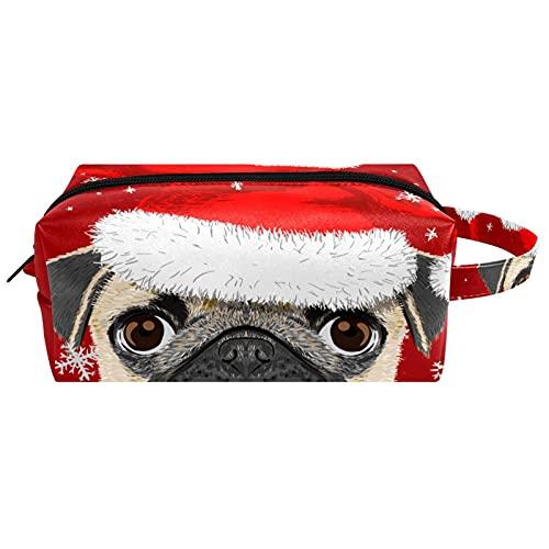 Bonito perro con sombrero de Navidad, bolsa de cosméticos de viaje, bolsa de maquillaje de piel de microfibra con cremallera