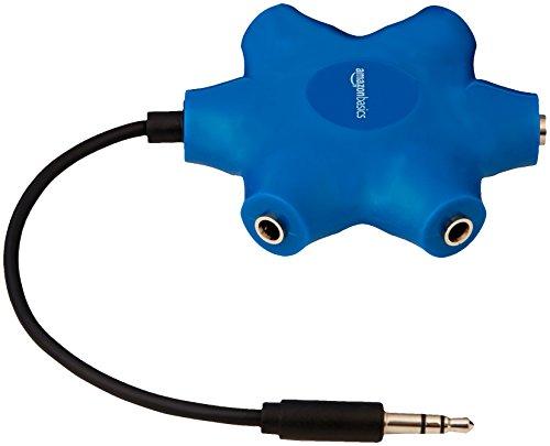 Amazon Basics - Divisor de 5 salidas para múltiples auriculares, Azul