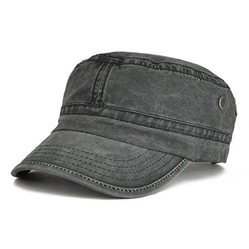 VOBOOM Washed Cotton Military Caps Cadet Army Caps Unique Design (Black)