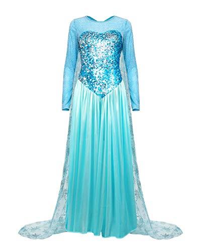 Nofonda Robe de princesse Elsa élégante et fantaisie pour déguisement Pour femme Bleu, bleu, XX_Large