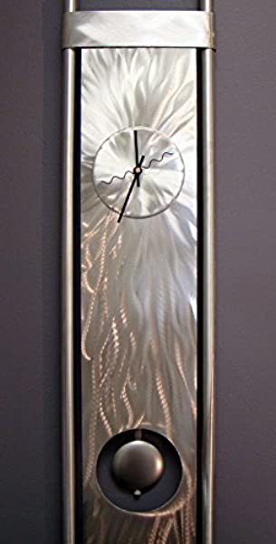 Statements2000 Silver Abstract Metal Clock Functional Art Pendulum Abstract Wall Timekeeper Vortex Clock By Jon Allen 48 Inch