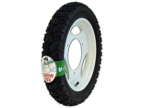WINTER-Komplettrad, Scheibenrad, weiß, 12 Zoll - VORNE + HINTEN - für Roller SR50, SR80 - Heidenau-Reifen 3.00-12, 47J, TT, Enduro, M+S Snowtex, K57 montiert