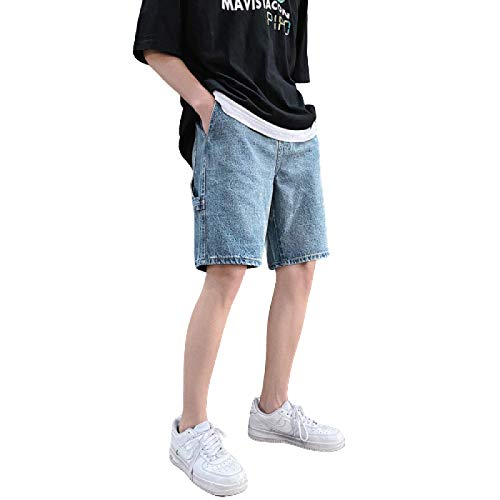 Segindy Pantalones Cortos de Mezclilla para Hombre, Personalidad de Moda, Agujeros Rasgados, Pantalones Vaqueros Retro Lavados Desgastados Rectos Sueltos con Tapeta con Cremallera S