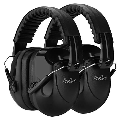 ProCase Noise Reduction Ear Muffs 2 Pack, NRR 28dB Hearing Ear Protection Safety Earmuffs for Shooting Range Mowing Construction Wood Work Manufacturing Hunting Men Women Adult
