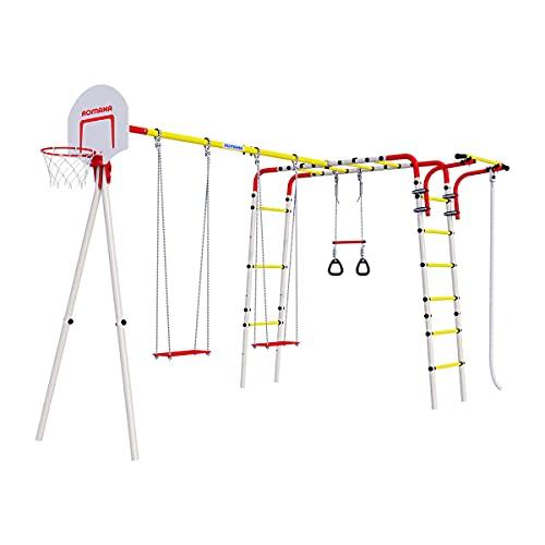 Parque infantil al aire libre Acrobat, marco de escalada de jardín para niños, juguetes, columpio, barras de pared, columpio de jardín, cesta de baloncesto, cuerda de escalada, trapecio