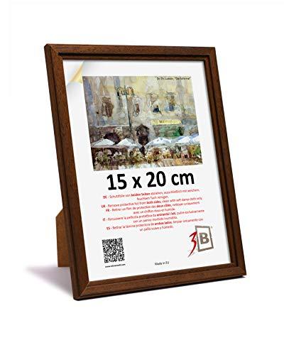 3B Cornice Jena - Marrone Scuro - 15x20 cm - Cornice in Legno, Foto, da Parete e da Tavolo con Vetro Poliestere (Foglio di plastica)