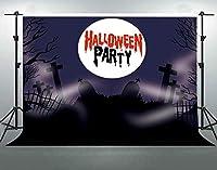 パーティーのためのHDハッピーハロウィーンの背景7x5ft綿布恐ろしい墓夜の写真の背景パーティーの装飾用品写真ブースの小道具WQFS047